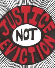 Justice N0t Eviction graphic