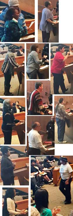 A collage of more citizens speaking one by one against tax foreclosures